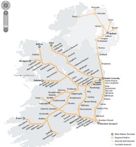 mapa tren irlanda