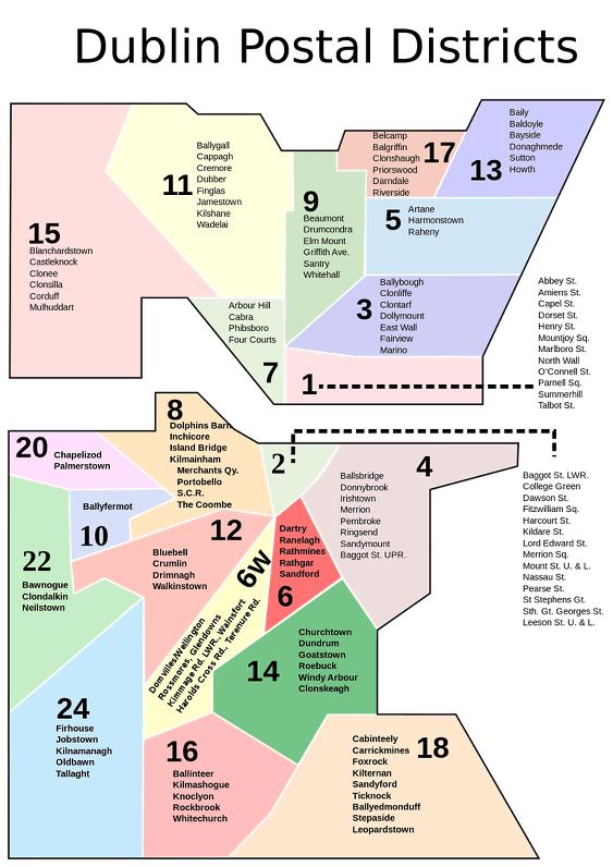 Mapa de las zonas y barrios para vivir en Dublín